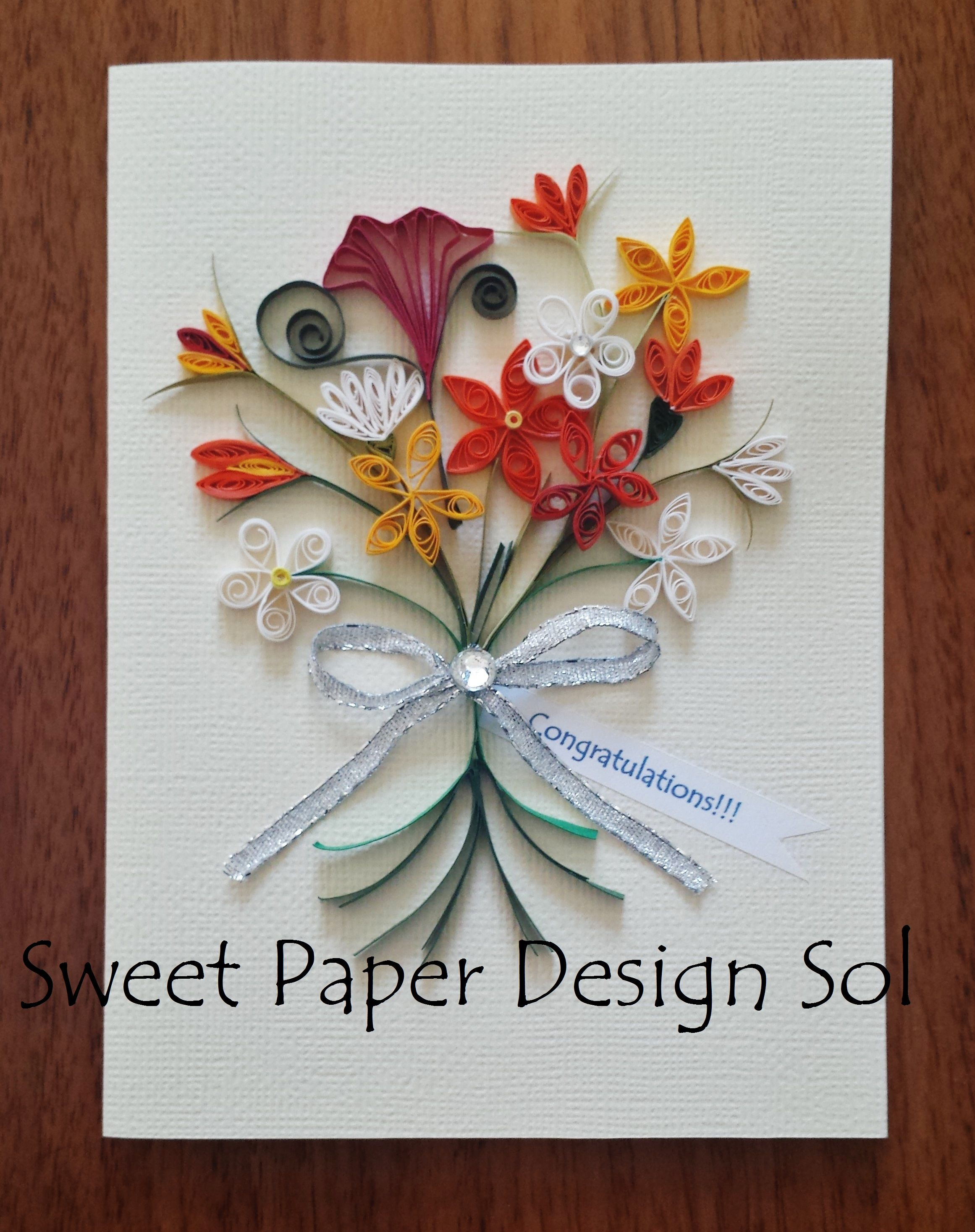 Paper Quilled Beautiful Yellow,orange flower Bouquet Card for ...