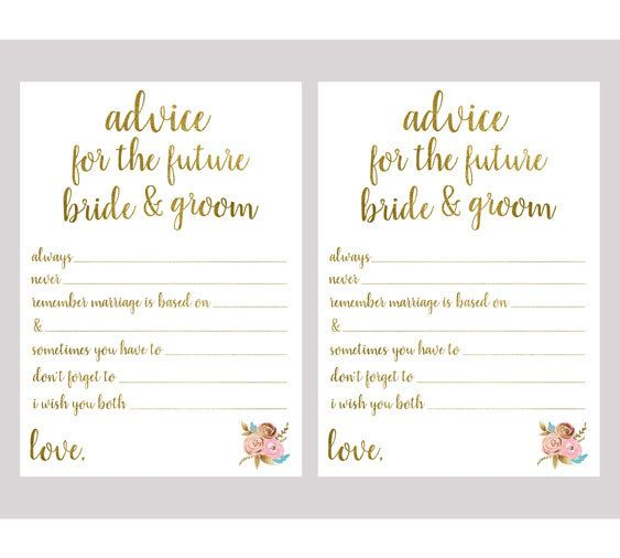 Advice For The Bride And Groom Bridal Shower By Pictureskit