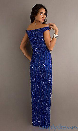 Off The Shoulder Long Royal Blue Sequin Dress | Formal gowns ...