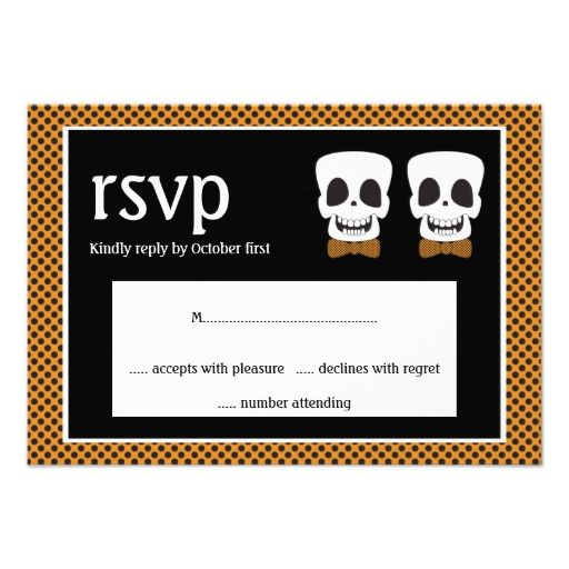 Cute Skulls Halloween Gay Goth Wedding rsvp Personalized Invite
