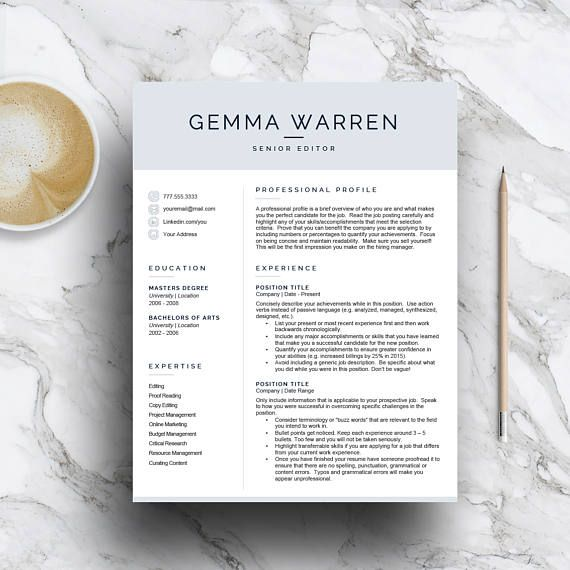 A modern resume template for Word and pages that includes a 1, 2 and