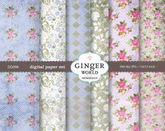 Violet Garden Roses  - Vintage Grunge Texture Digital Paper pack for scrapbooking DIY invitation (DG098)