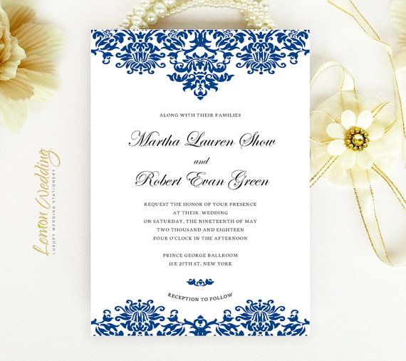 Royal Blue Wedding Invitations Printed