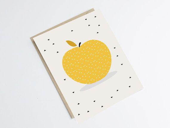 "Postcard ""APPLE"" - original print - illustration apple with black triangles - kitchen - deco"