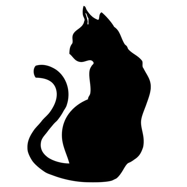 Pochoir chat 2 noir et blanc tattoo pinterest - Dessin chat noir ...