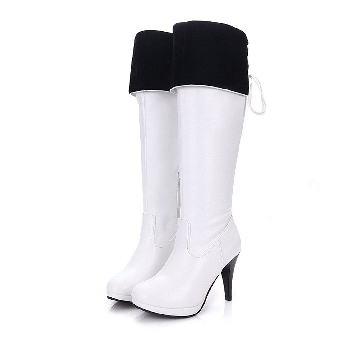 AmoonyFashion Womens Closed Round Toe High Heels PU Short Plush Solid Boots with Platform and Stiletto -- Tried it! Love it! Click the image. : Thigh high boots