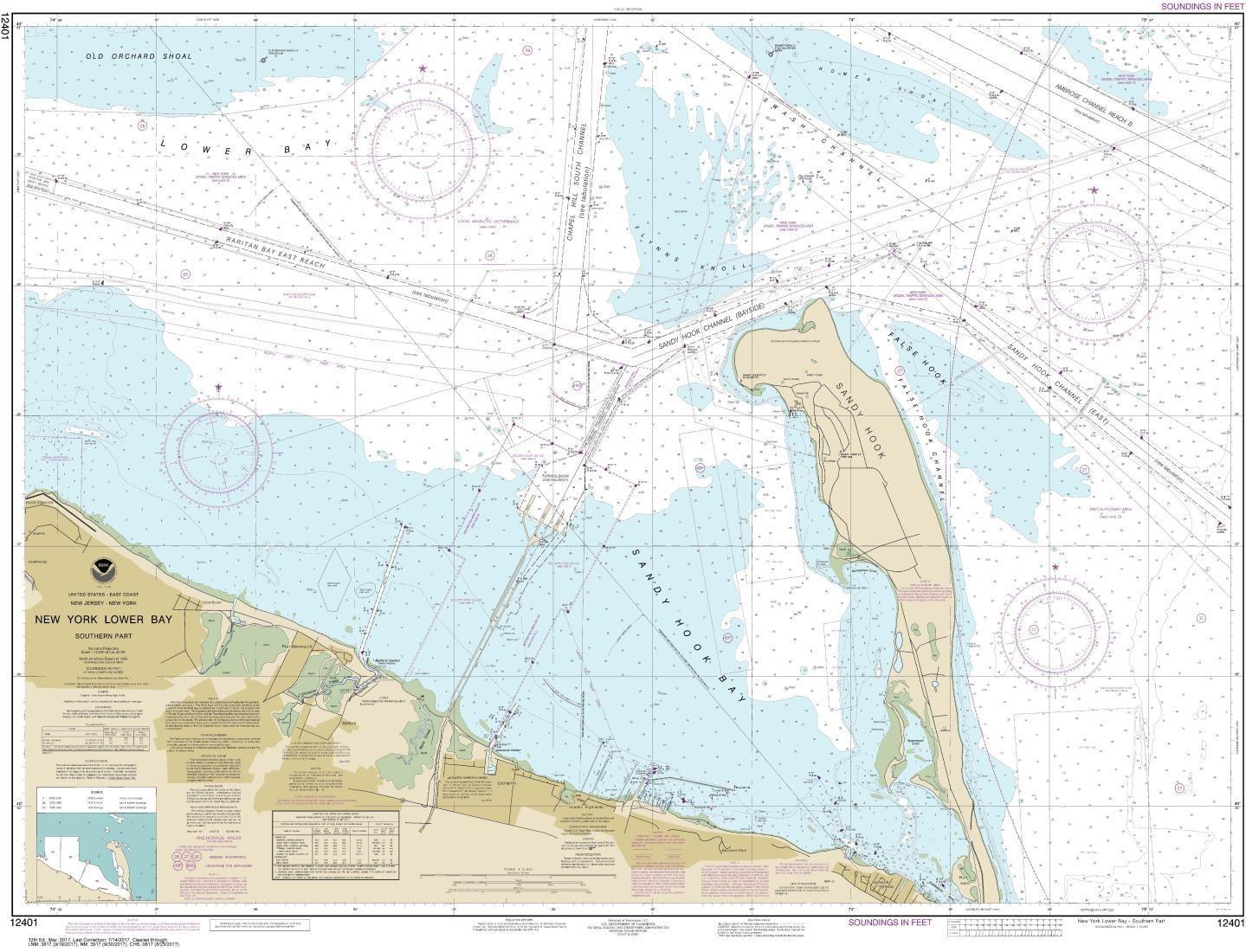 New York Lower Bay 12401 12 By Noaa Nautical Chart Wall Art Prints Prints