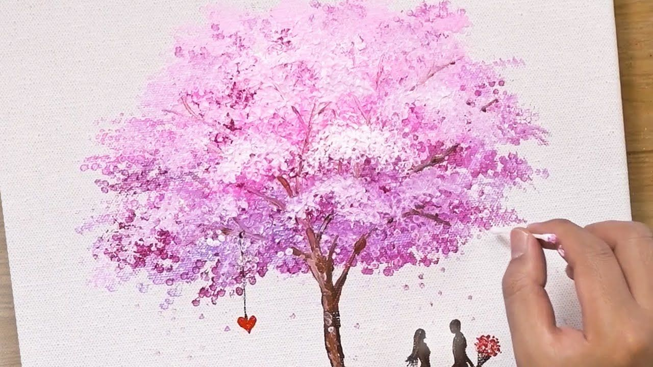 Painting A Cherry Blossom Tree With Acrylics And Cotton Swabs Cherry Blossom Painting Cherry Blossom Painting Acrylic Blossoms Art