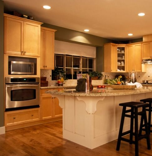 Simple White Kitchen Cabinets: Simple Maple Kitchen. White Island. Granite Top