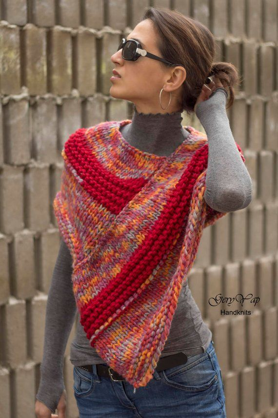 Women wool poncho, hand knit poncho, multicolor, rainbow, red, chunky knit poncho, READY TO SHIP #ponchos