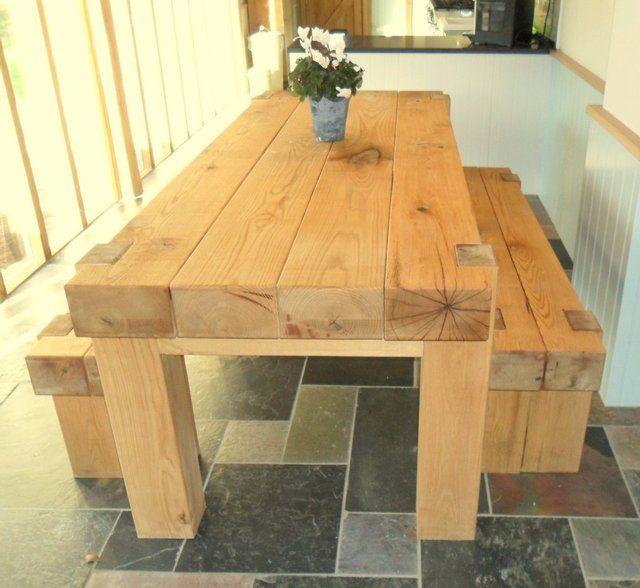 Oak railway full sleeper dining table for sale in 2019