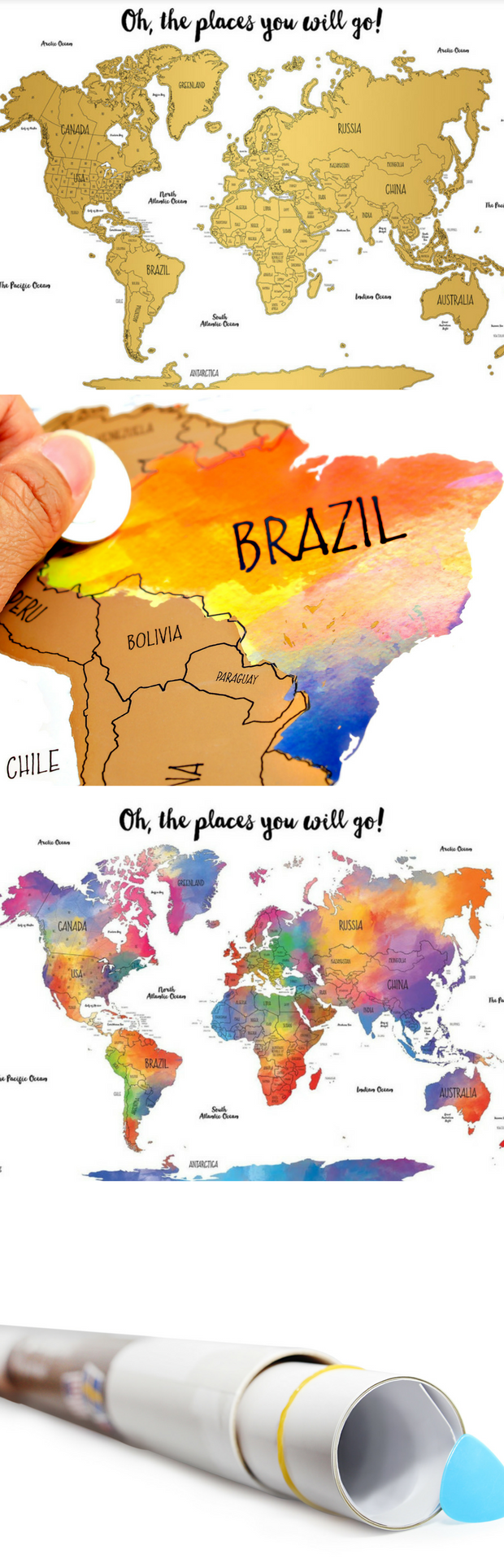 Free two day shipping included watercolor world scratch off map a beautiful scratch off world map to track your travels and plan your next destination gumiabroncs Image collections