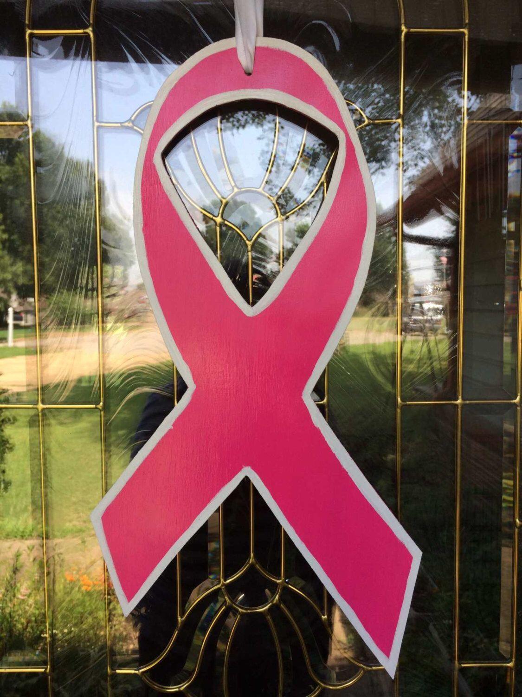 Photo of Brystkreft bevissthet bånd – brystkreft bånd håndmalt tre dør henger – rosa …