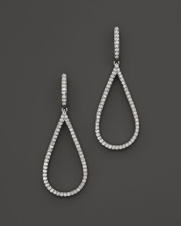 Diamond Teardrop Earrings in 14K White Gold, .50 ct. t.w.