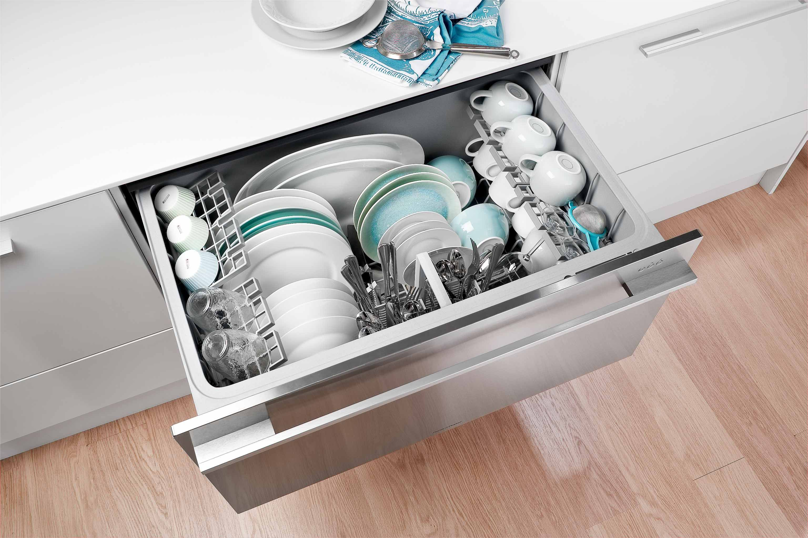 dishwasher appliances drawer paykel single dishdrawer front fisher high angle online