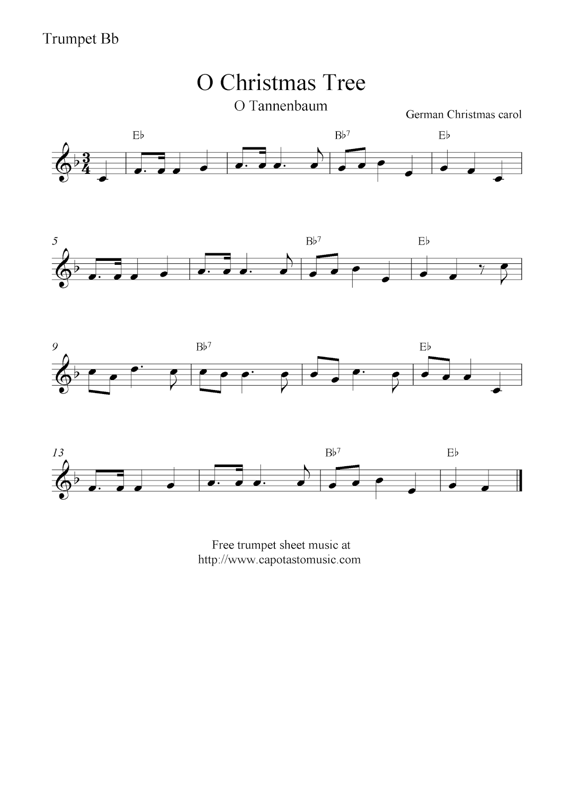 Free Sheet Music Scores O Christmas Tree O Tannenbaum Free Christmas Trumpet Sheet Music Notes Sheet Music Sheet Music Notes Trumpet Sheet Music