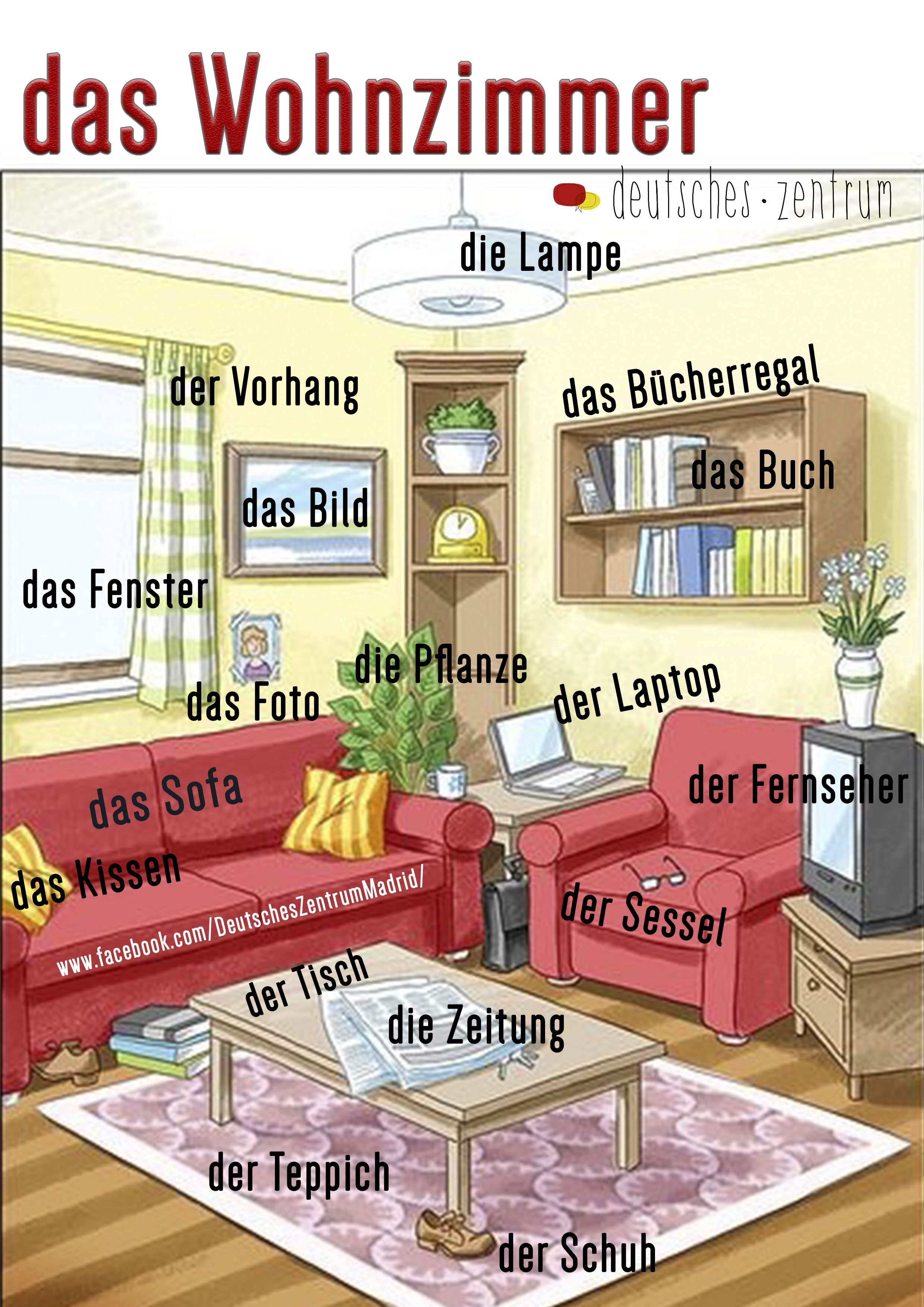 wohnzimmer deutsch wortschatz grammatik alem n german daf vocabulario daf pinterest. Black Bedroom Furniture Sets. Home Design Ideas