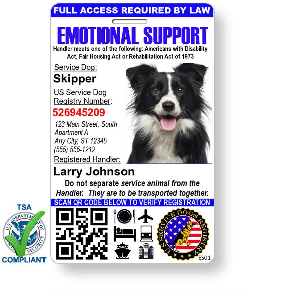 Just 4 Paws Custom Holographic Qr Code Emotional Support Dog Id Card With Registration To Service Dogs Registry Emotional Support Dog Emotional Support Dog Id