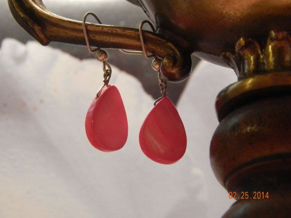 Teens Pink Mother of Pearl Drops Summer by fivefingerscreations, $8.00