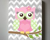 "Girls wall art - OWL canvas art, Baby Nursery  Owl 10""x 12"" woodland nursery art"