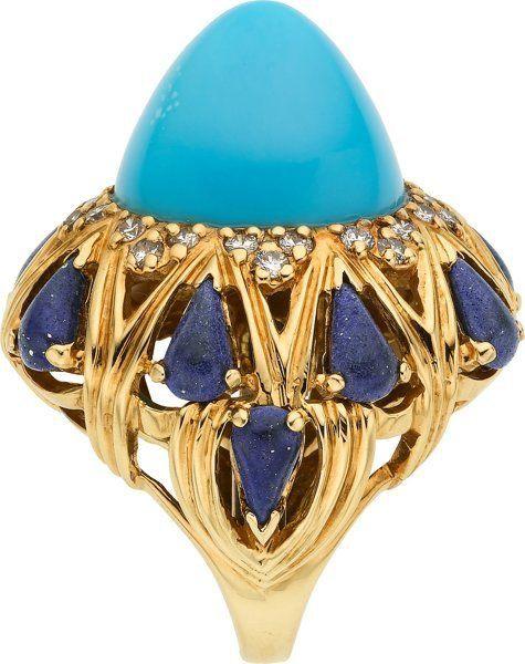 Turquoise, Lapis Lazuli, Diamond and 18K Yellow Gold Ring