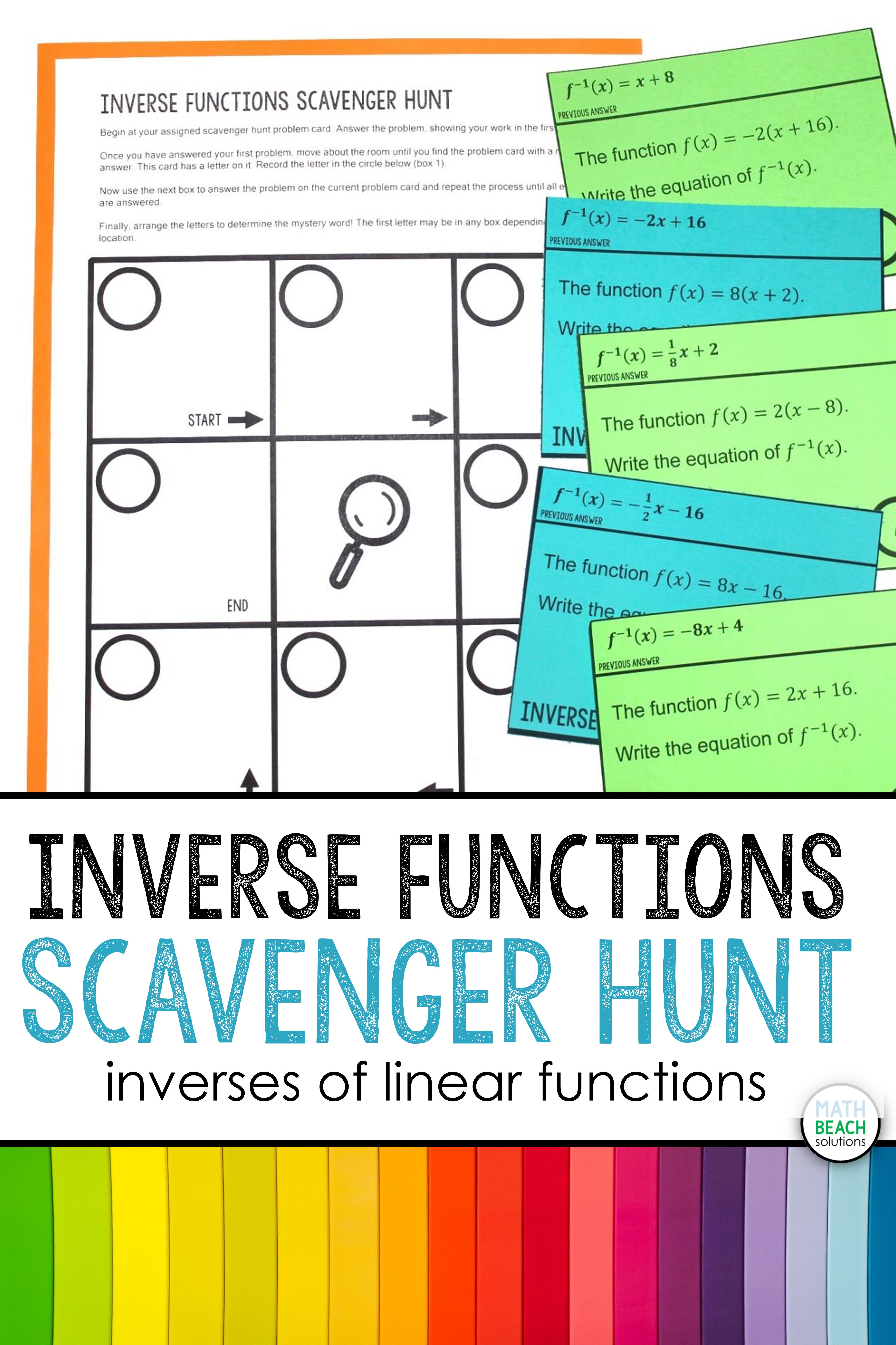 Inverses Of Linear Functions Scavenger Hunt Activity Linear Function Graphing Functions Algebra Resources