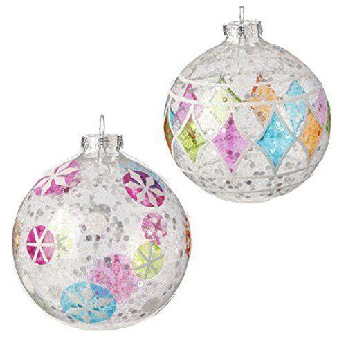 "4.5"" Glittered Ball Ornaments - Set of 2  Price : $24.95 http://www.perfectlyfestive.com/RAZ-Imports-Glittered-Ball-Ornaments/dp/B00MN4Z43E"