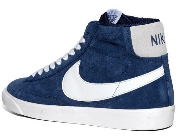 Nike Blazers Pompes En Daim Bleu Marine