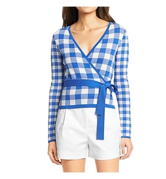 $348 - Diane Von Furstenberg Women's Kyla Ballerina Gingham Wrap Sweater Printed (Medium, Blue Riviera / White Gingham) #apparel #sweater #dianevonfurstenberg #sweaters #clothing #women #departments