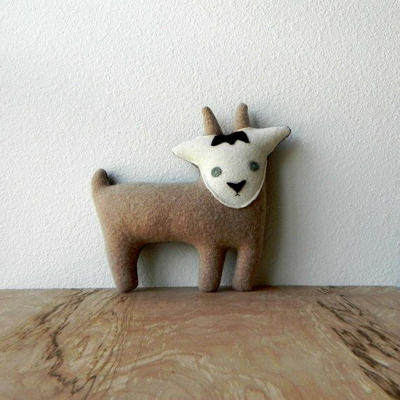 the Goat plush wool pillow by ThreeBadSeeds on Etsy, $60.00