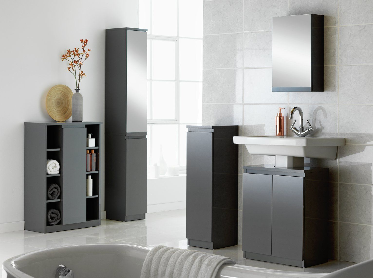 Argos Home Gloss Undersink Storage - Grey  Tall bathroom storage