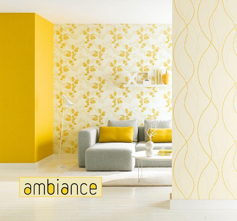 Kollektion Ambiance Wohnzimmer gelb Wallpaper yellow - wohnzimmer farben gelb