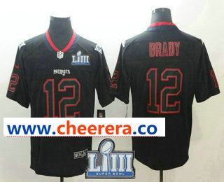 f0bc48c4e Men s New England Patriots  12 Tom Brady 2019 Super Bowl LIII Patch Black  Lights Out Color Rush Stitched NFL Nike Limited Jersey