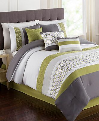 Grove 7 Piece Queen Embroidered Comforter Set - Bed in a Bag - Bed & Bath - Macy's