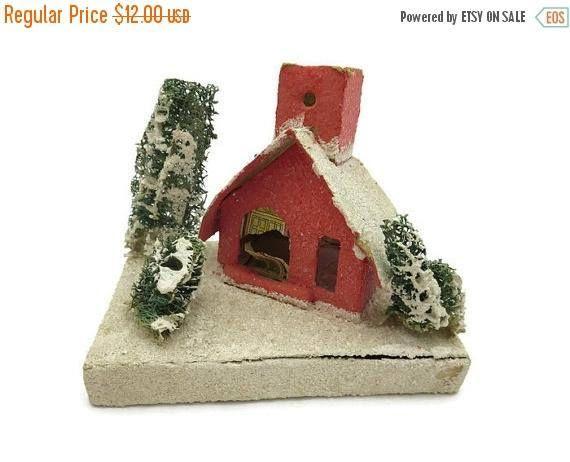 CLEARANCE Putz House Christmas Decoration Japan Mica Vintage