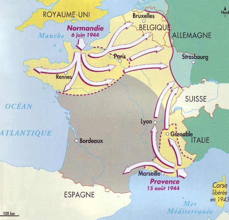 carte de france 2 guerre mondiale