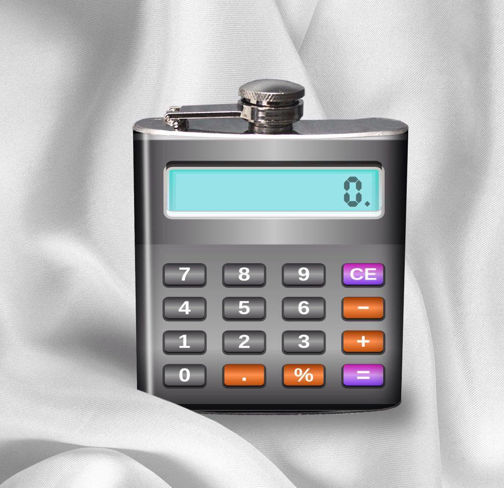 hip flask calculator accountant math teacher gift liquor