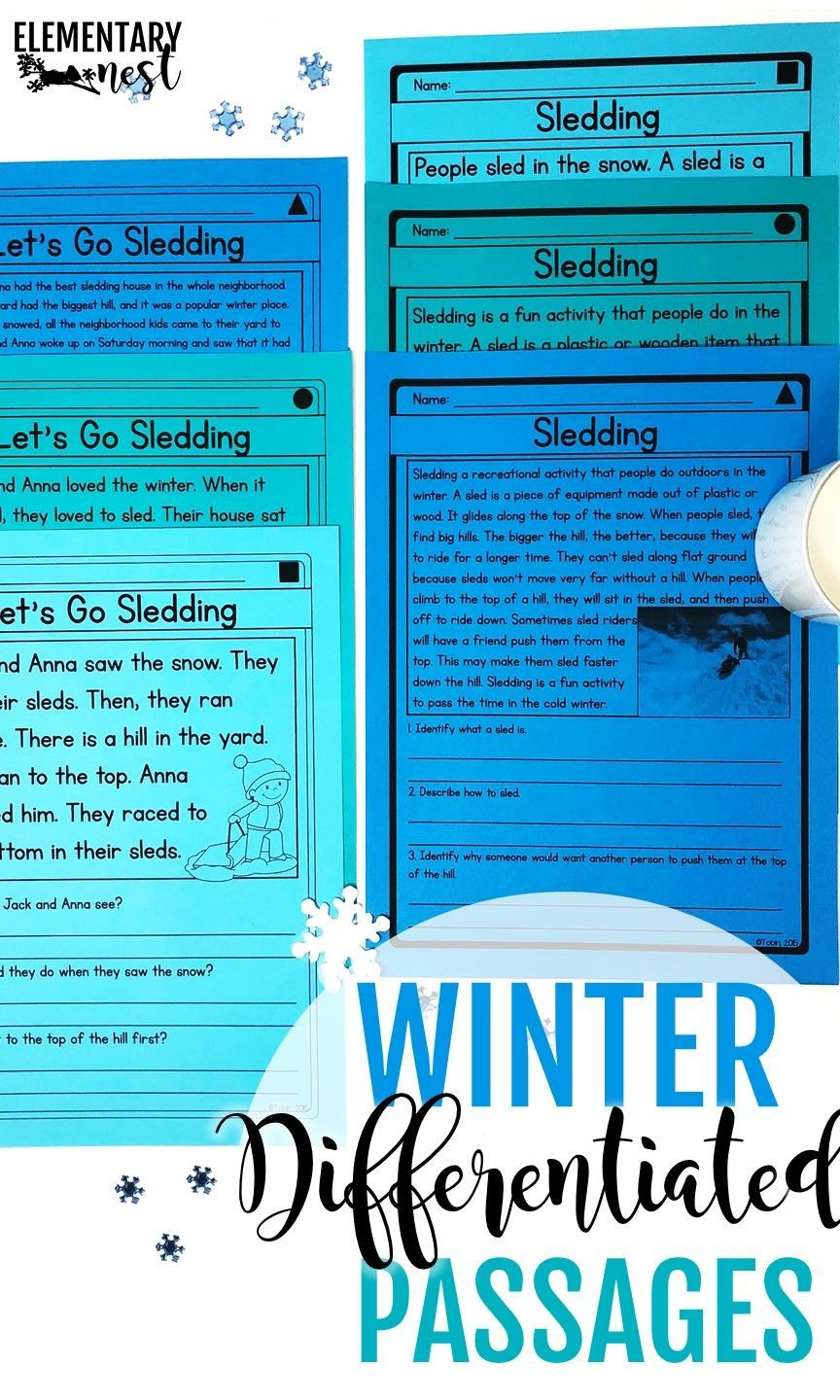 House Of Fun Freebies 2 : house, freebies, Differentiated, Reading, Activities,, Winter, Reading,, Activities, Kids,, Lesson, Passages
