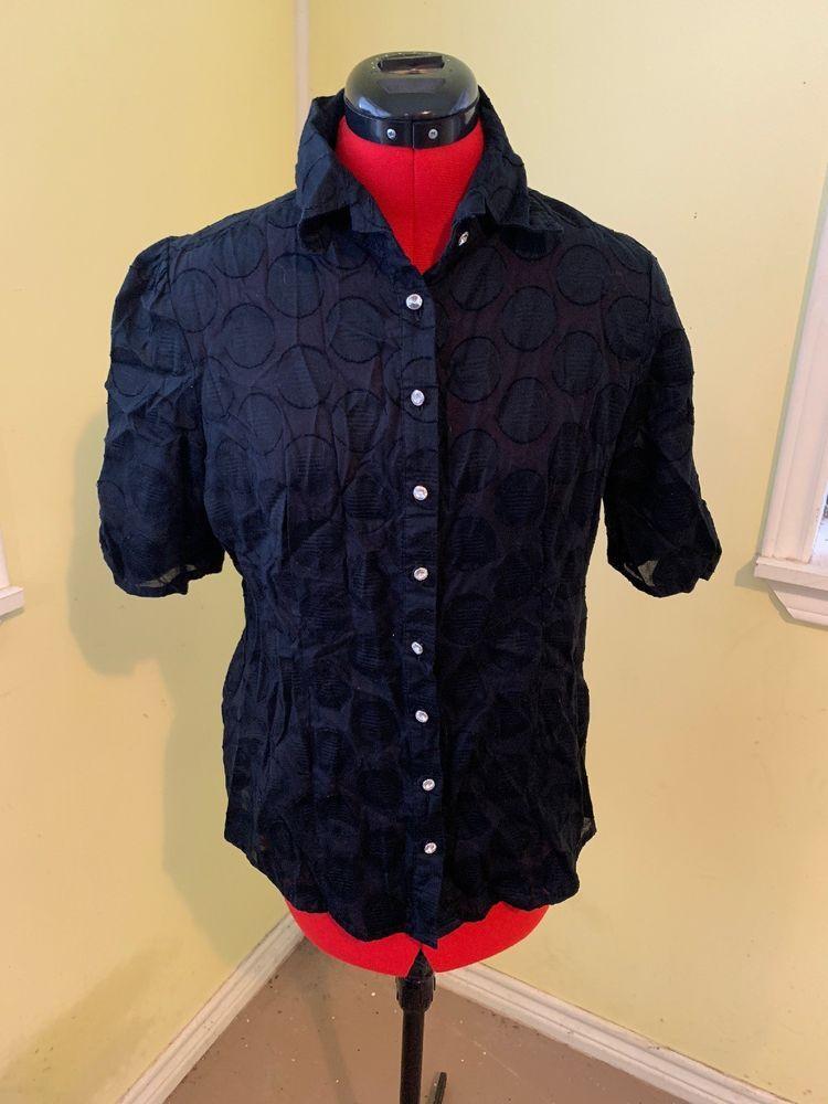 e85ff615 Daytrip Size L Women's Black Sheer Button Down Rhinestone Button Blouse  Shirt | eBay