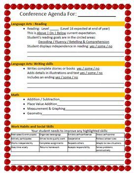 St Grade Parent Teacher Conference Agenda  Spring Conferences