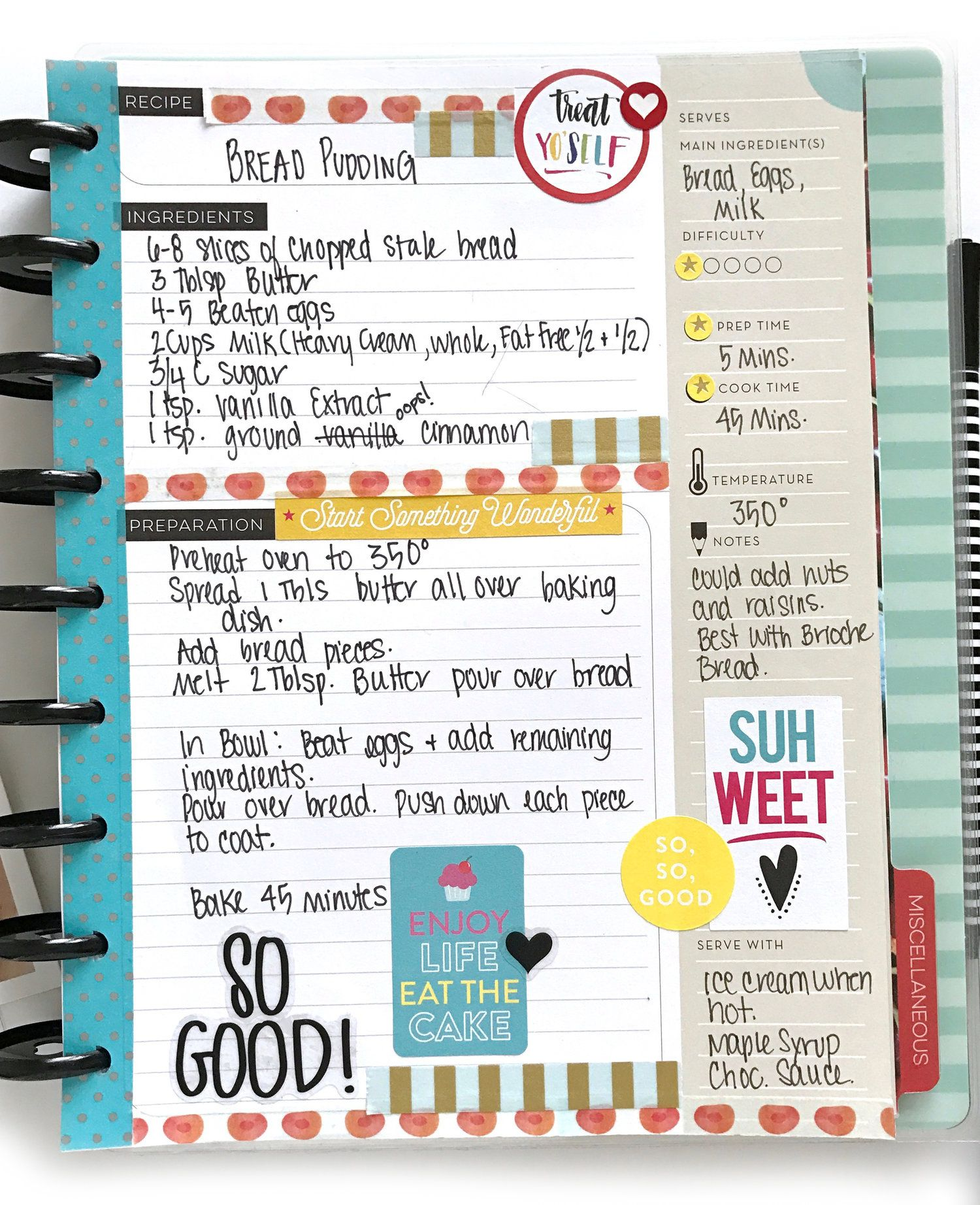 This is a photo of Happy Planner Recipe Printable within printable 2019