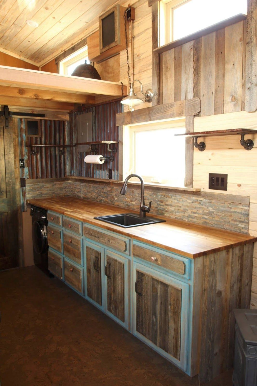 a beautiful custom rustic home from simblissity tiny homes made from a pine and corrugated on kitchen decor themes rustic id=40979