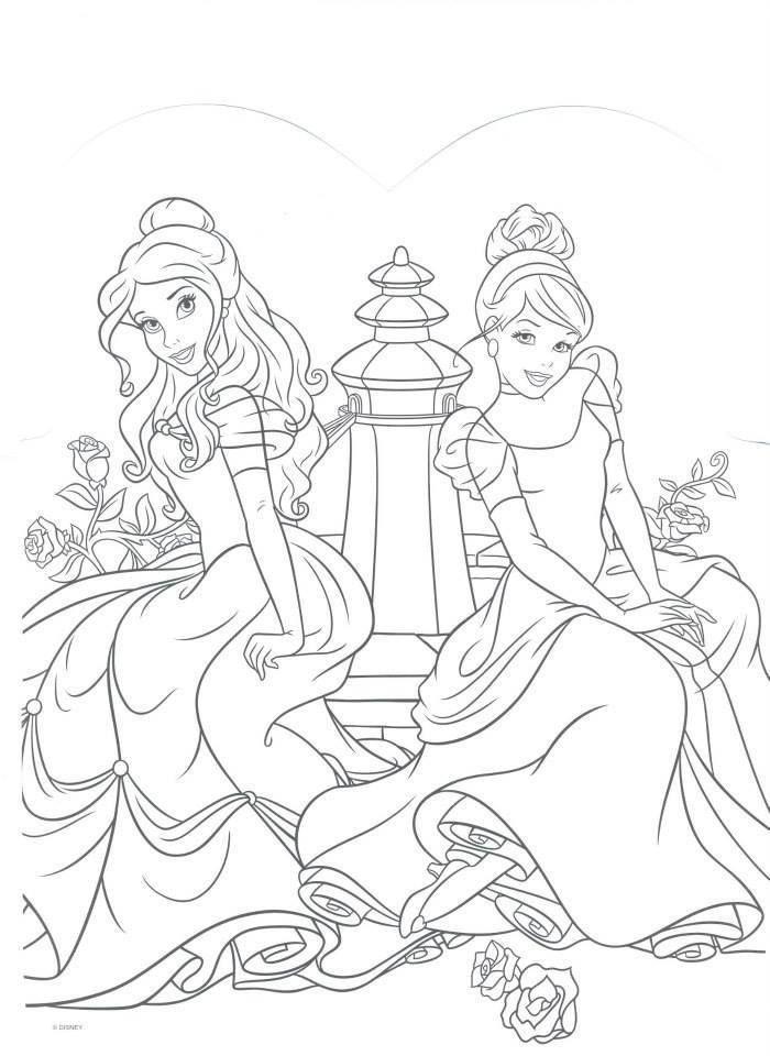 Cinderella And Aurora Disney Princess Coloring Pages Cinderella