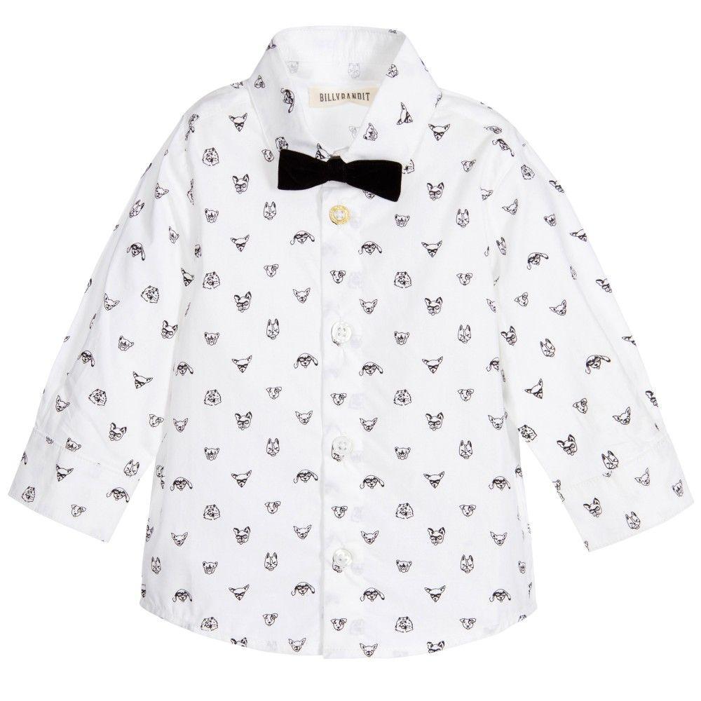 Billybandit Baby Boys White Dog Print Shirt With Bow Tie