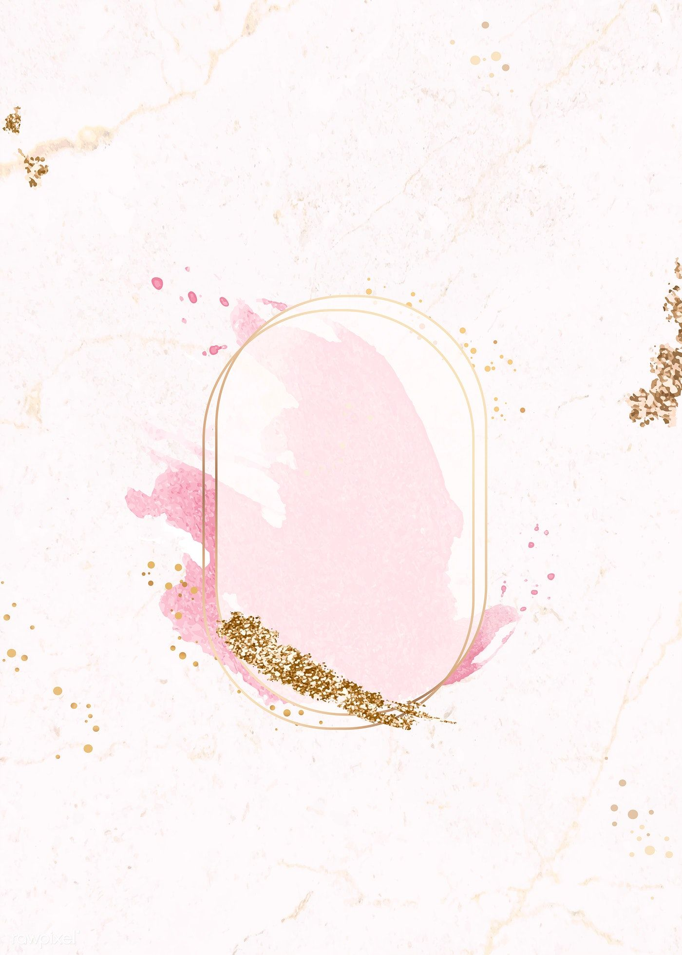 Download premium vector of Gold oval frame on pink