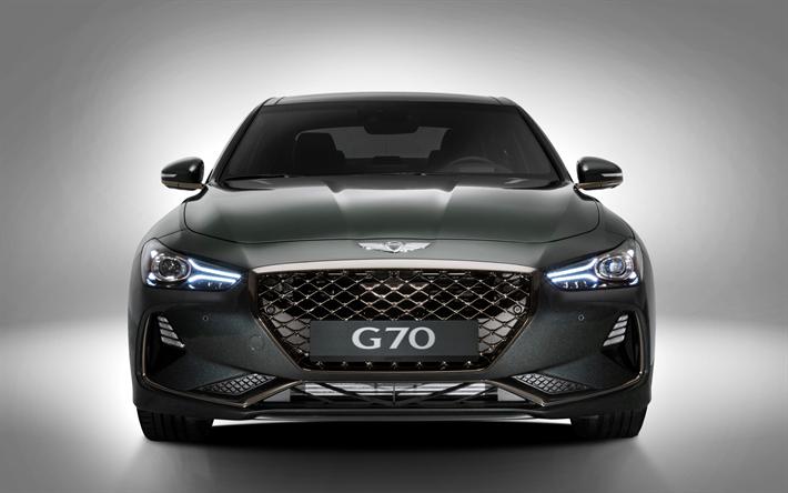 Download Wallpapers Genesis G70 2018 4k Black G70 Front View Luxury Sedan Korean Cars Genesis Besthqwallpapers Com Hyundai Genesis Luxury Sedan Luxury Car Brands