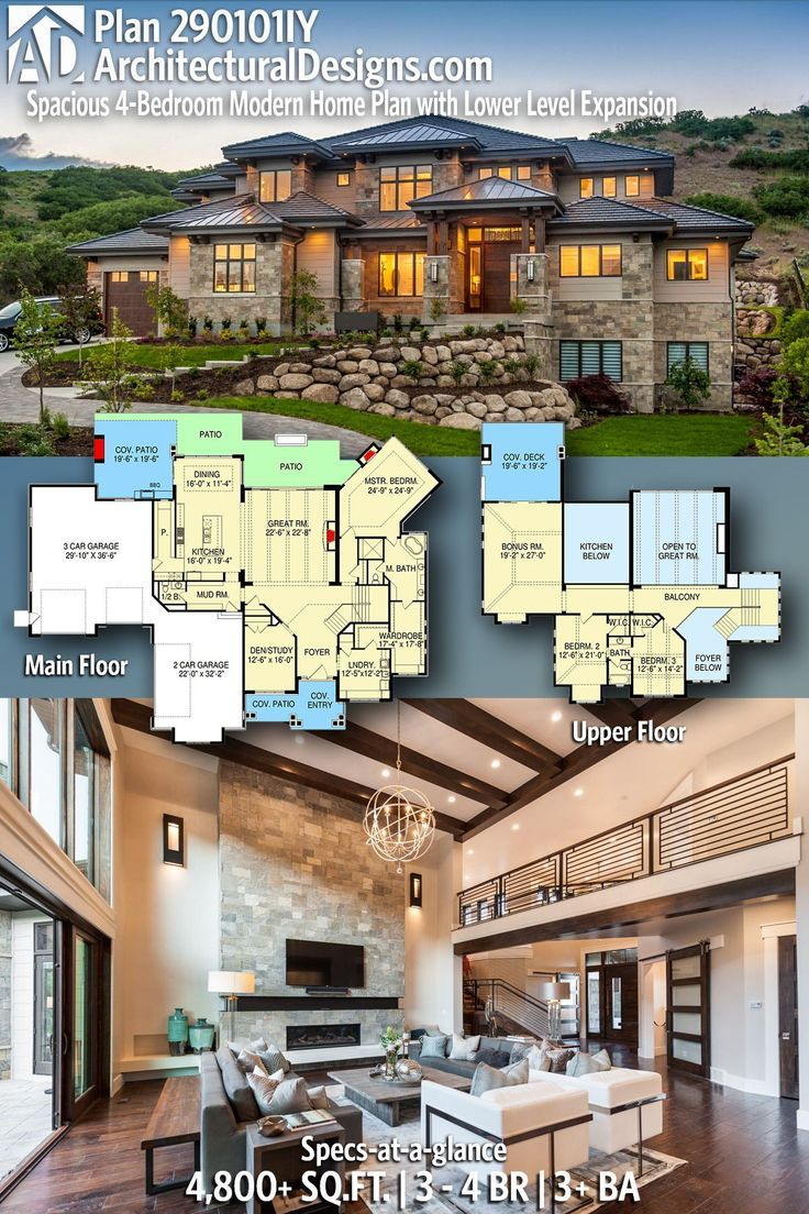 Trendy ideas for modern house plans picture description architectural designs modern house plan 290101iy gives you 3 4 beds 3 baths and 4800