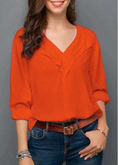 44f7d97929303 Orange Red V Neck Roll Sleeve Blouse in 2018
