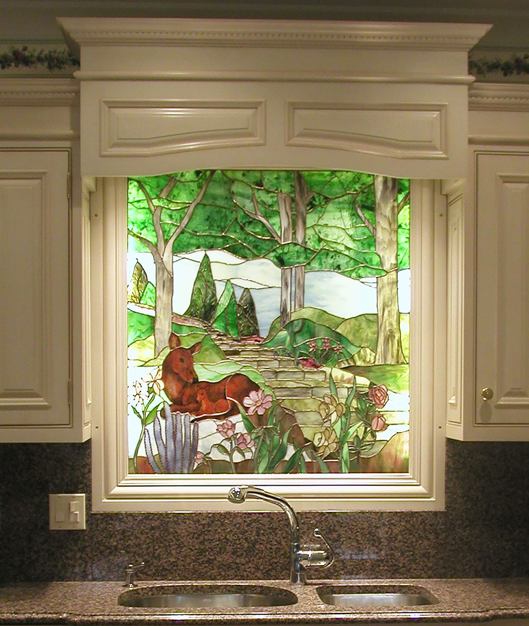 Backsplash Behind Sink Custom Scenic Stained Glass Backsplash Behind Sink Backsplashes