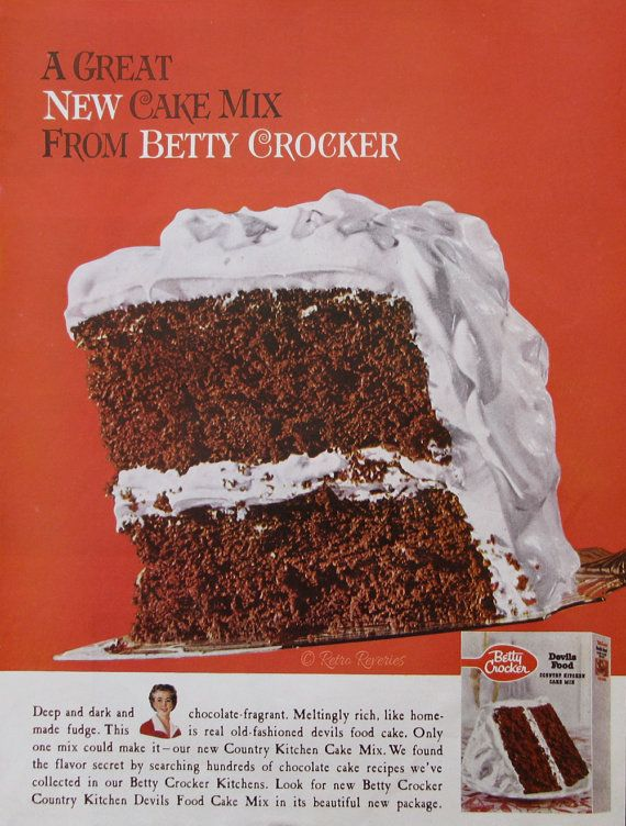 1960 Betty Crocker Devils Food Chocolate Cake Ad From